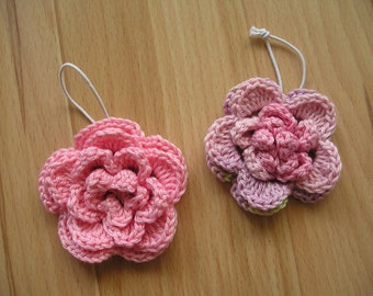 Hair Jewellery with crocheted flower, bald rubber, bloom, pink, cotton, 3d flower