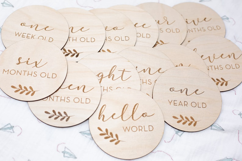 Double Sided Baby Monthly Cards  Wooden Discs Set of 13  image 1