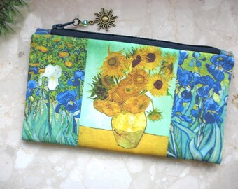 Sunflowers cosmetic bag, Van Gogh bag, phone bag, bridesmaid clutch