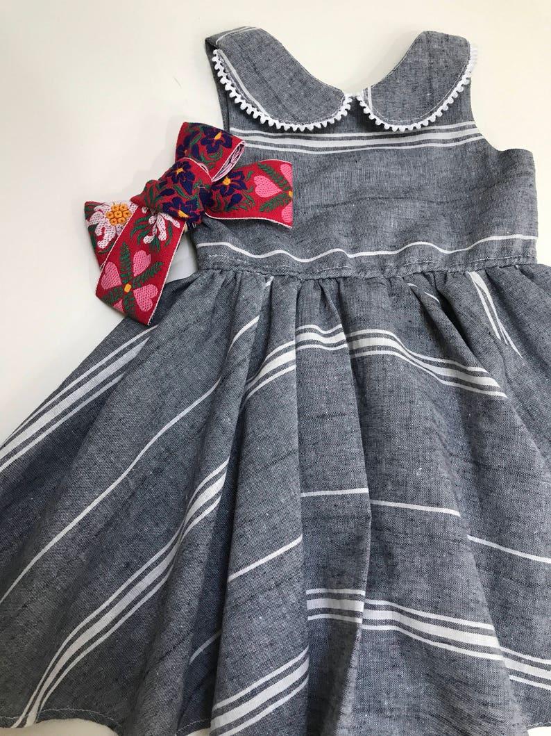 Vintage stripe Linen Twiring Dress  July 4th special