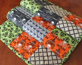 Quilted Halloween Centerpiece Quilted Orange Table Runner Halloween Table Runner Halloween Decoration Handmade Moda Midnight Masquerade