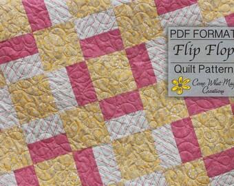 Baby Quilt Pattern, Digital Quilt Pattern, Flip Flop Baby Quilt Pattern, Square Baby Quilt Pattern, Beginner Quilt Pattern, Easy Pattern
