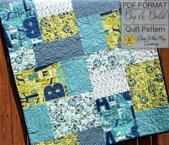 Baby Quilt Pattern Fat Quarter Quilt Pattern Big Bold Baby Etsy Magnificent Fat Quarter Quilt Patterns