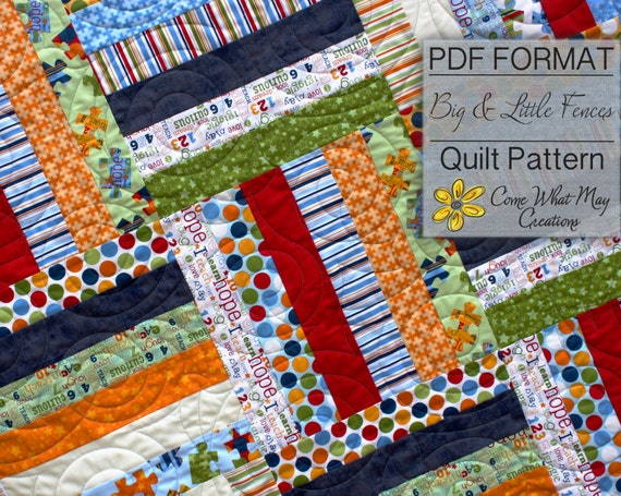 Big Little Fence Baby Quilt Pattern Strip Quilt Pattern Etsy