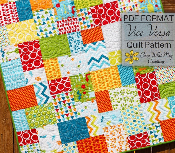 Baby Quilt Pattern Layer Cake Quilt Pattern Vice Versa Baby Etsy