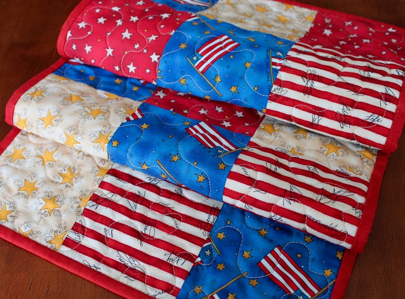 Independence Day Table Runner 4th of July Table Runner July 4th American Table Runner Memorial Day Decor USA Decor Red White Blue