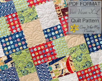 Fat Quarter Quilt Pattern, Vice Versa Baby Quilt Pattern, Lap Quilt Pattern, Beginner Quilt Pattern, Easy Quilt Pattern, PDF Quilt Pattern