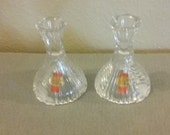 From Germany 1980 39 s Anna Hutte Bleikristall Lead Cut Crystal Candleholder Pair Perfect Condition