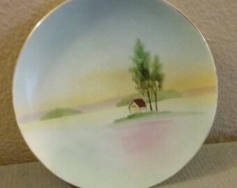 """8"""" Diameter Hand Painted 1920's Era Nippon  Japan Porcelain Plate"""