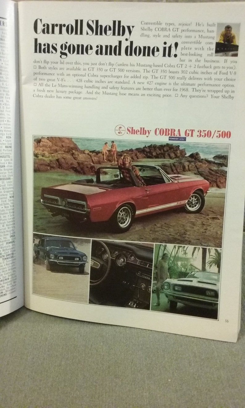 Color ad for 1968 shelby gt 350 500 intact in near mint november 1967 issue of playboy