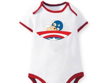 Sleeping Captain America Baby Bodysuit Romper One Piece