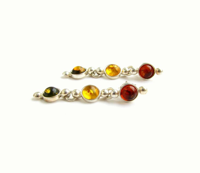 28263c69c312d Multi stone stud earrings, Yellow Orange Green Baltic Amber sterling silver  earrings Costume jewelry Valentines day gift for women