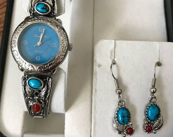 Vintage Southwestern Lucoral Watch and Earring Set