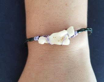 Coral with purple wire bracelet