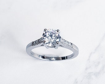 Stainless steel solitaire ring for women with cubic zirconia stones steel engagement ring (REF#SSR11)
