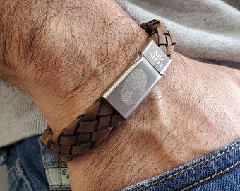 Personalized Men's Brown Italian Leather Bracelet - Engraved Bracelet - Fingerprint Coordinates Bracelet for Men (#TASB159)