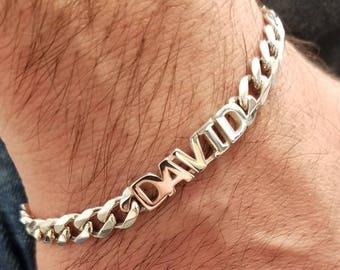 Personalized Italian Sterling Silver 925 Id Bracelet For Men Etsy