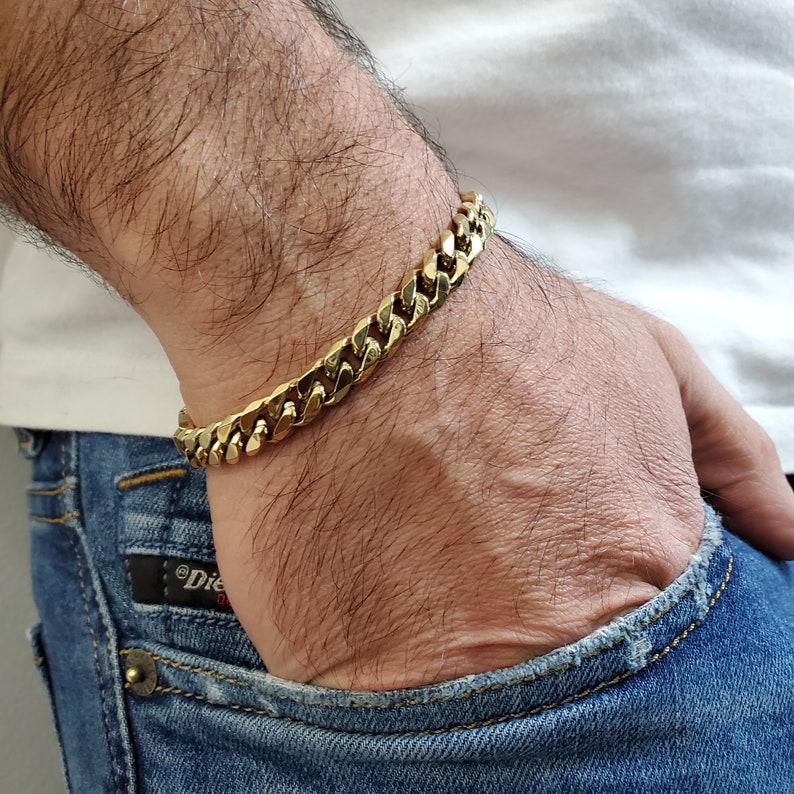 8mm Cuban Link Gold Plated Stainless Steel Bracelet for Men