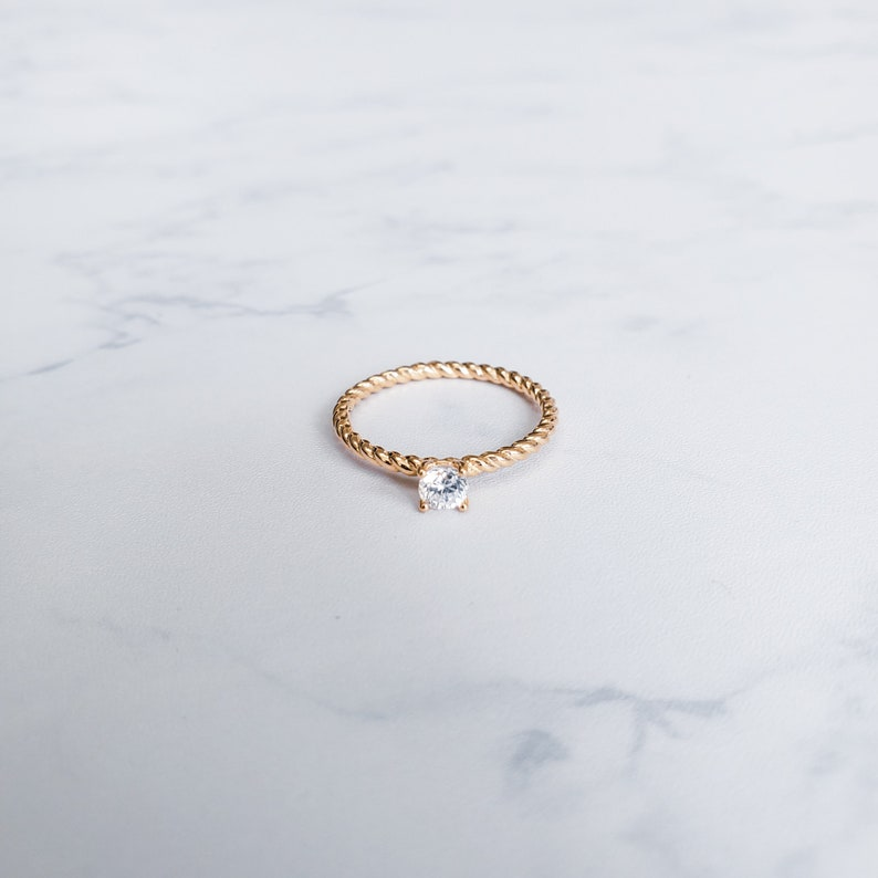 Twisted Band Solitaire Engagement Ring with Round C.Z Stone 10K 14K 18K Gold Twist Engagement Ring