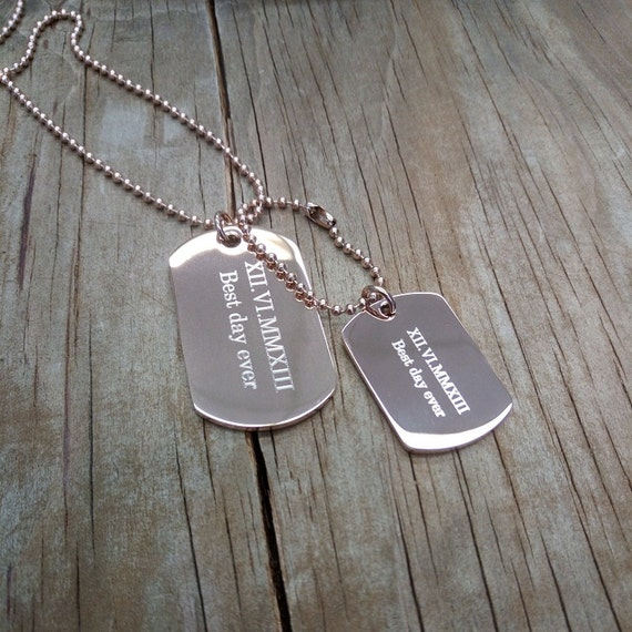 4b69a7b8f181 Personalized Stainless steel rose gold double dog tag pendant   Etsy