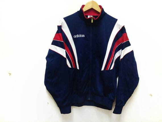 adidas 3 stripes sweater Embroidery logo white and red training suit sports wear hip hop vintage