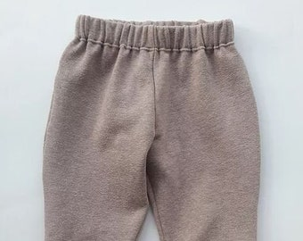 Stone joggers, neutral kids clothes, 6-9m, recycled kids clothes, upcycled