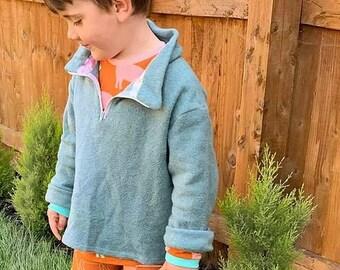 100% Cotton Fleece, kids fleece, turquoise fleece, cotton kids fleece