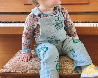 Kate Rowland x Lizziebug Collaboration Beetle Dungarees, hand printed dungarees, double gauze dungarees, double gauze kids clothes