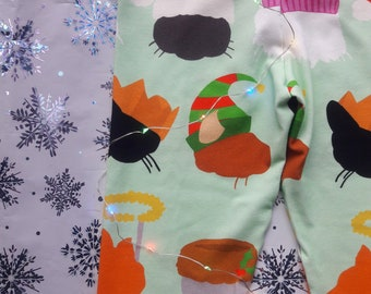 Cats in Christmas Hats leggings, exclusive print, unisex kids leggings, gender neutral children's clothing
