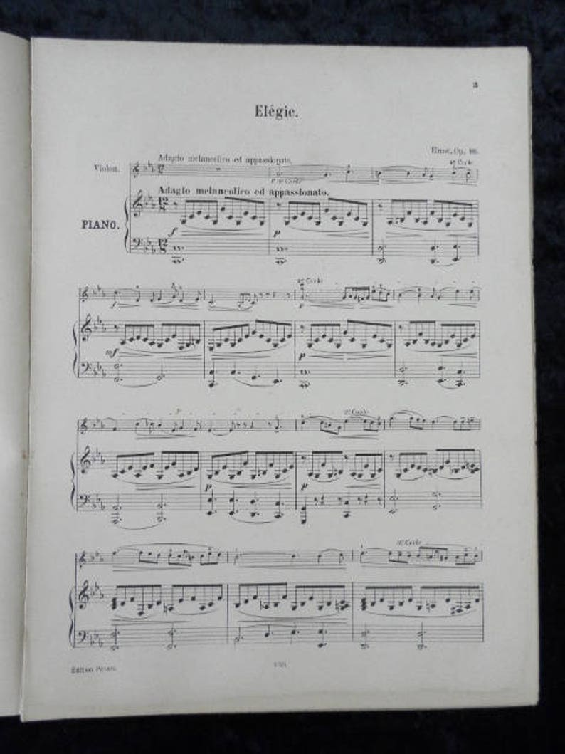 ERNST PRUME Elegy - Melancholy for violin and piano - Revised by Grunwald -  Edition Peters no 1818 (no ref 166)