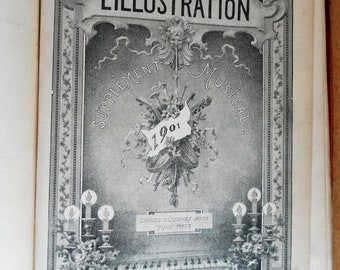 1901 French piano and song sheet music. L'Illustration musical supplement as a bound copy. Paris magazine supplement.