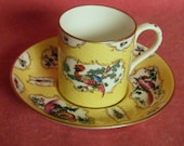 Crown Staffordshire Coffee Can Old Worcester China Copy Scale Yellow Fancy Birds c.1910