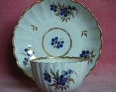 Worcester Teabowl and Saucer Blue Flowers c.1785 Georgian Antique