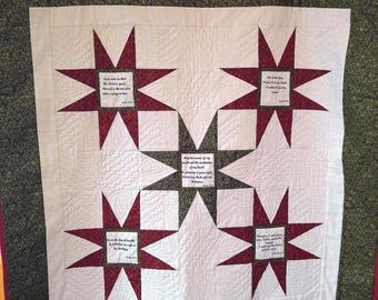 Healing Psalms handmade Prayer quilt, Christian wall art, Bible church banner, biblical quotes, Christian gift