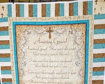 Amazing Grace Quilt, handmade prayer quilt, ordination gift, pastor minister gift, Christian gift, nursing home gift, grandparent gift,