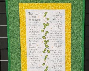 psalm 23, christian fabric, handmade prayer quilt, bible verse decor, Christian wall art, religious wall art