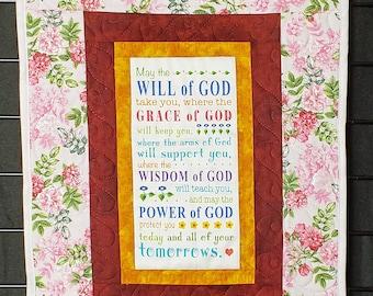 Grace of God, handmade prayer quilt, prayer quilt, pastor gift, mothers gift,