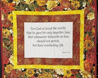 John 3:16, biblical quote, handmade prayer quilt, Christian wall art, religious quilt, nursing home gift condolence gift