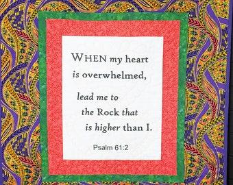 African fabric quilt,  Biblical quotes, handmade prayer quilt, bereavement gift, pastor gift, Christian keepsake quilt