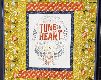 Come Thou Fount, handmade prayer quilt, Christian quilt, religious gift, Christian gift