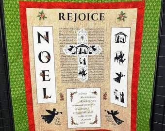 Christmas quilted banner, handmade prayer quilt, nativity cross, quilted wall hanging