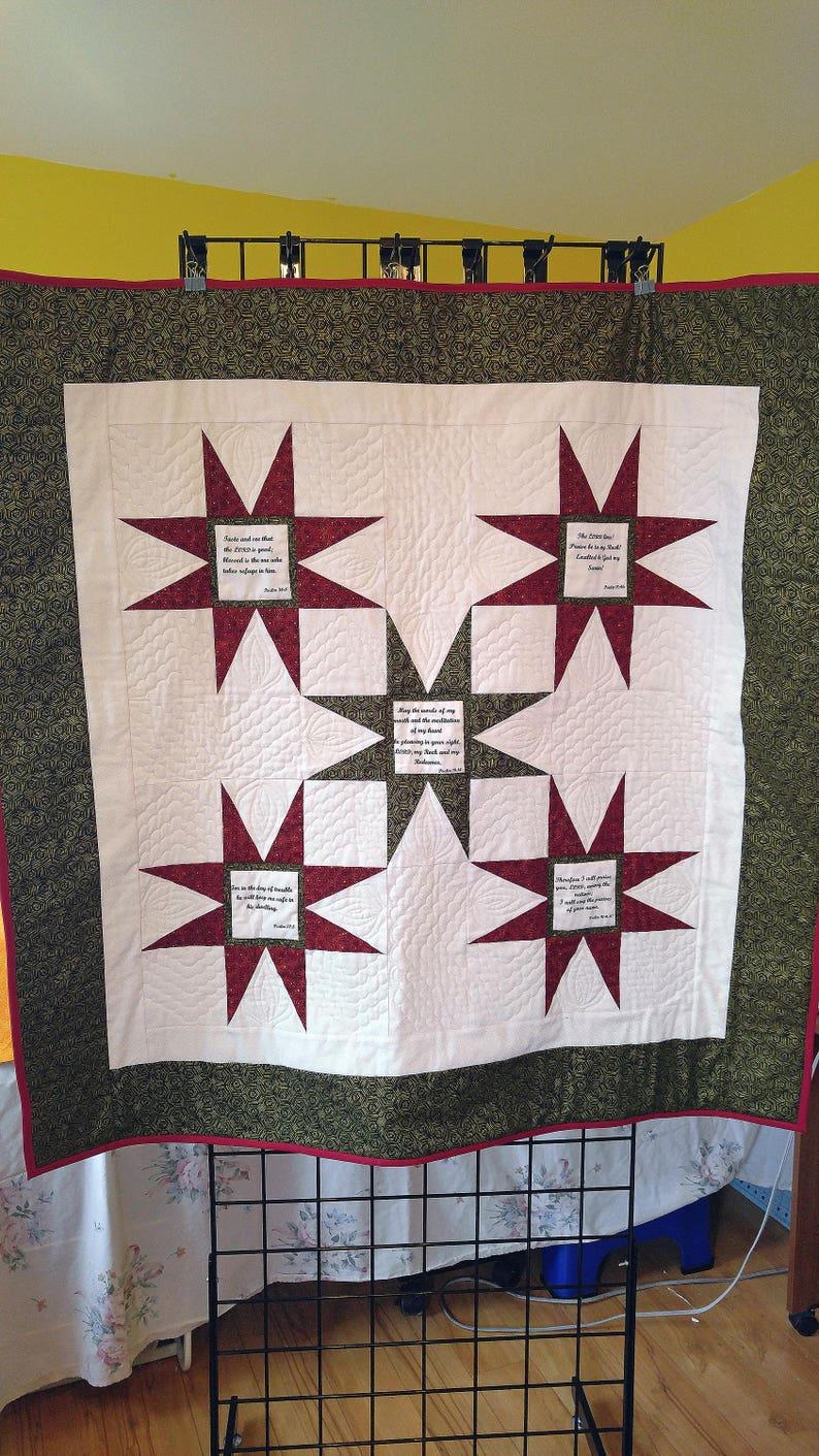 Healing Psalms handmade Prayer quilt, amazing grace wall quilt, stars wall  hanging
