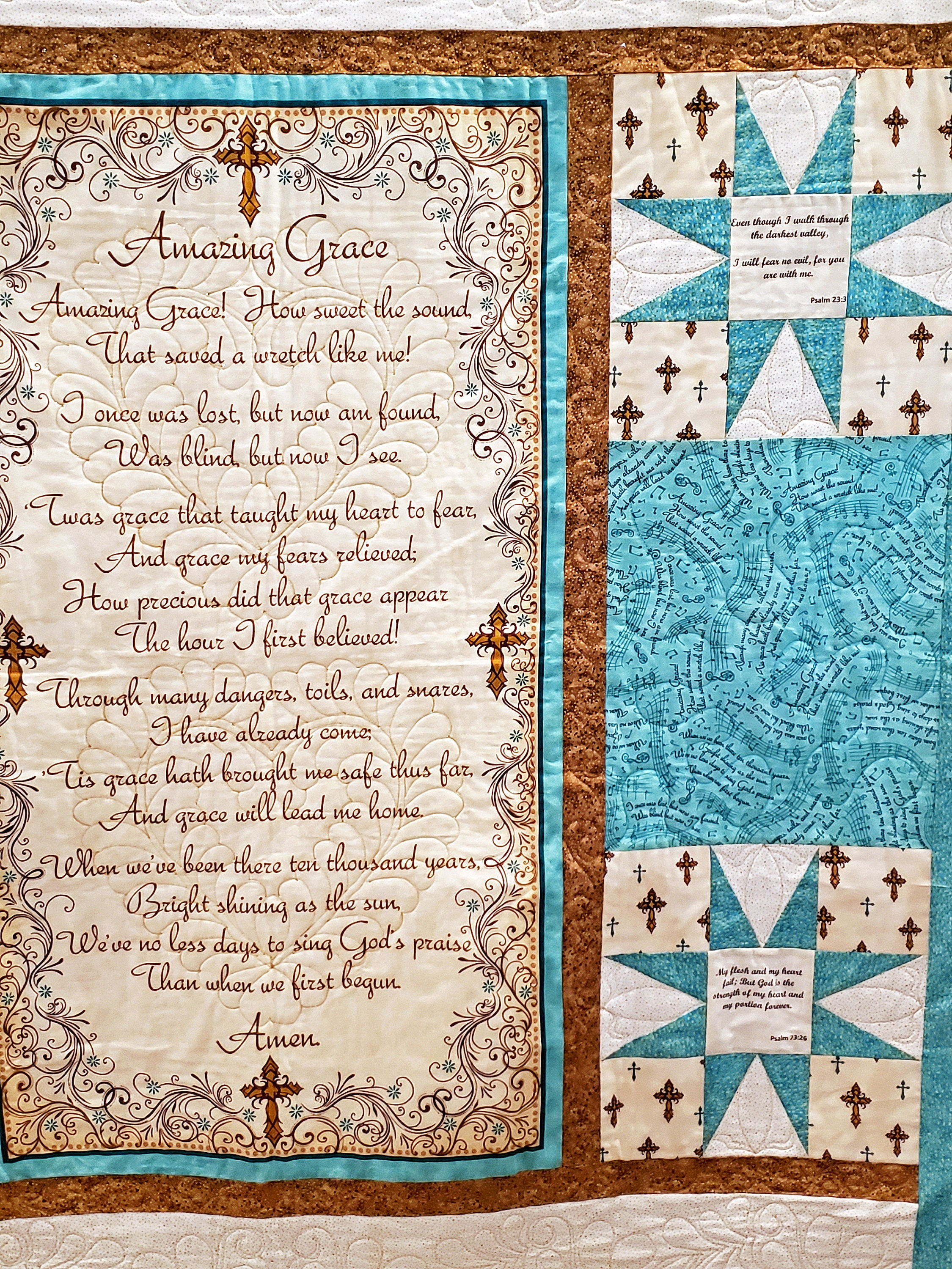 Beautiful handmade quilted wall hanging with full Amazing Grace hymn
