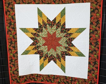 Handmade Christmas star, quilted star wall hanging, Lone Star quilt, handmade Christmas quilt, quilted wall hanging, red green gold
