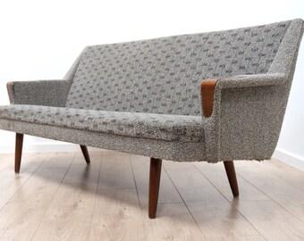 Superb Mid Century Danish Vintage Teak Grey Sofa Settee 1960s /196