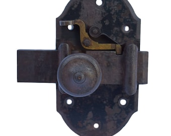 Large Antique French Wrought Iron Door Bolt Lock With Safety Hardware  19th.c   Door Repurpose Supplies Latch   Home Renovation   Padlock