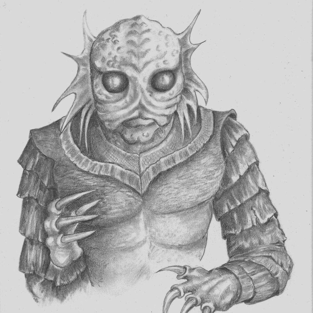 Original Ink Drawing Amphibian Man