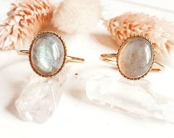Gold Labradorite AAA Ring | Bluish Labradorite Ring | Genuine Labradorite Ring | Natural Stone Ring | Gold Plated Ring | EUGENIE Ring