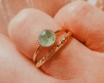 Green Aventurine Ring | Gold Aventurine Ring | Gold 14K Plated Ring | Simple Stone Ring | Gold Adjustable Ring | AGRIPPINE Ring