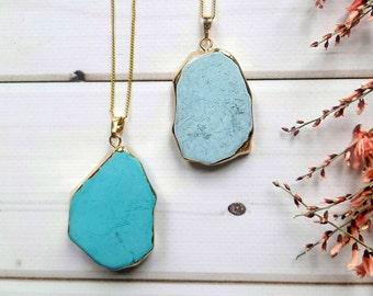 Turquoise Bohemian Necklace /Turquoise Festival Necklace /Bohemian Simple Necklace / Druzy Turquoise Necklace/Boho Inspiration Necklace /